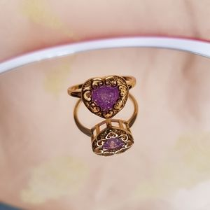 Gold tone crackled pink quartz ring